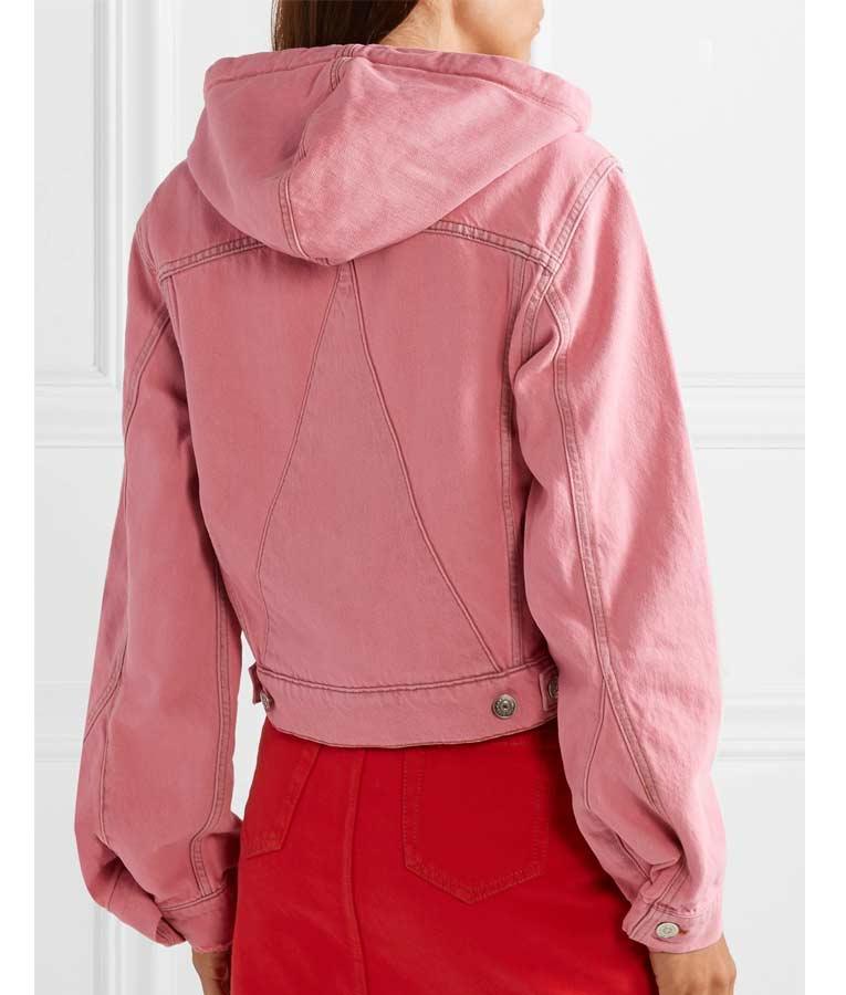 Emily in Paris Season 1 Emily's Pink Hooded Denim Jacket