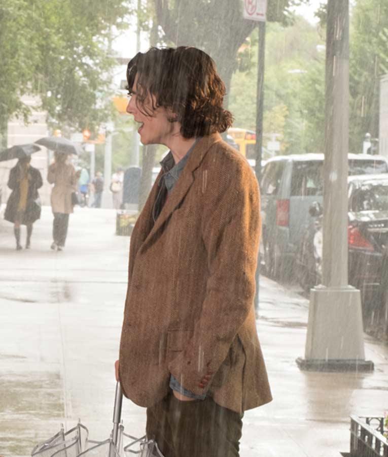Timothée Chalamet A Rainy Day in New York Gatsby Tweed Blazer