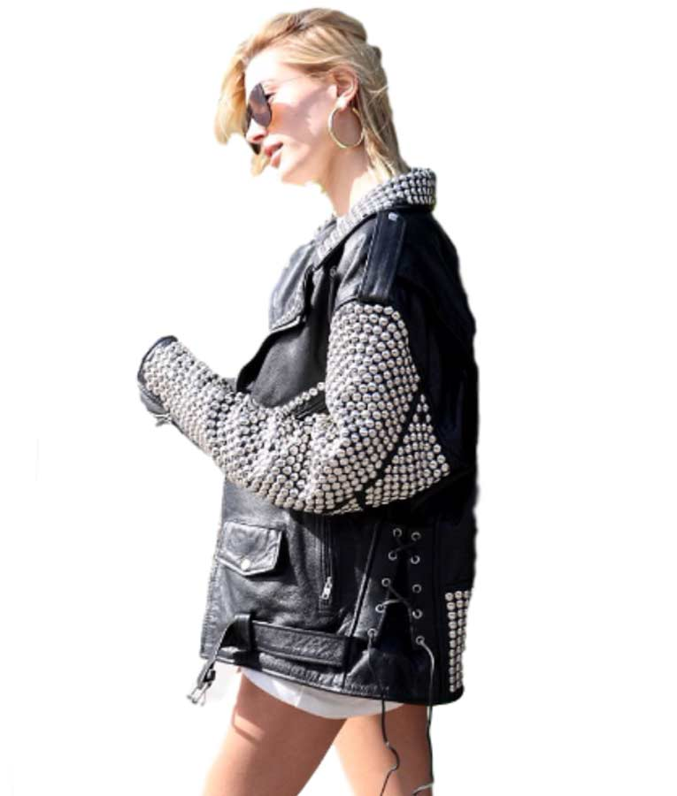 Hailey Baldwin Silver Studded Black Leather Jacket