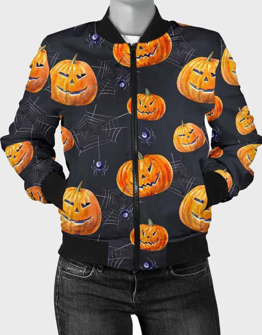 Halloween Pumpkin Bomber Jacket