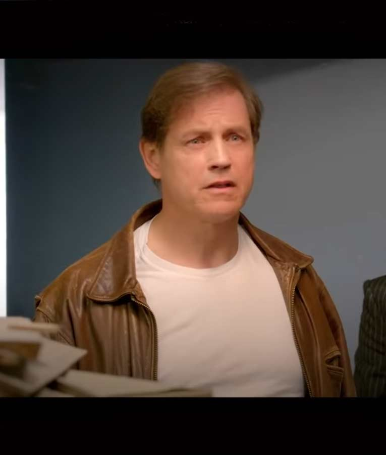 Michael Paré Middleton Christmas Johnny Brown Leather Jacket