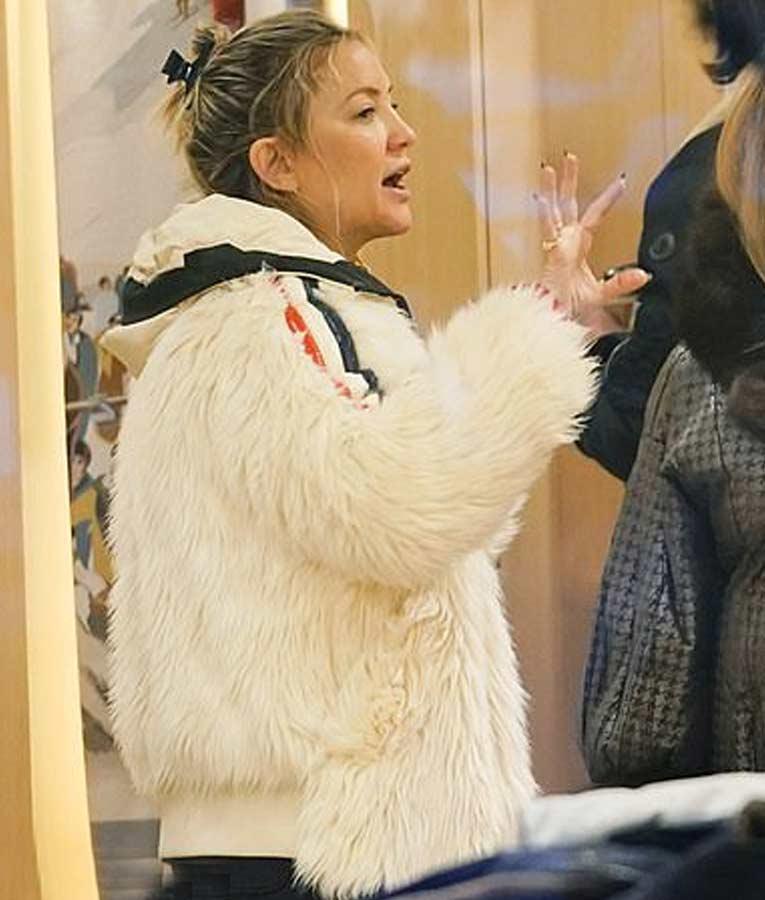 Kate Hudson White Faux Fur Jacket