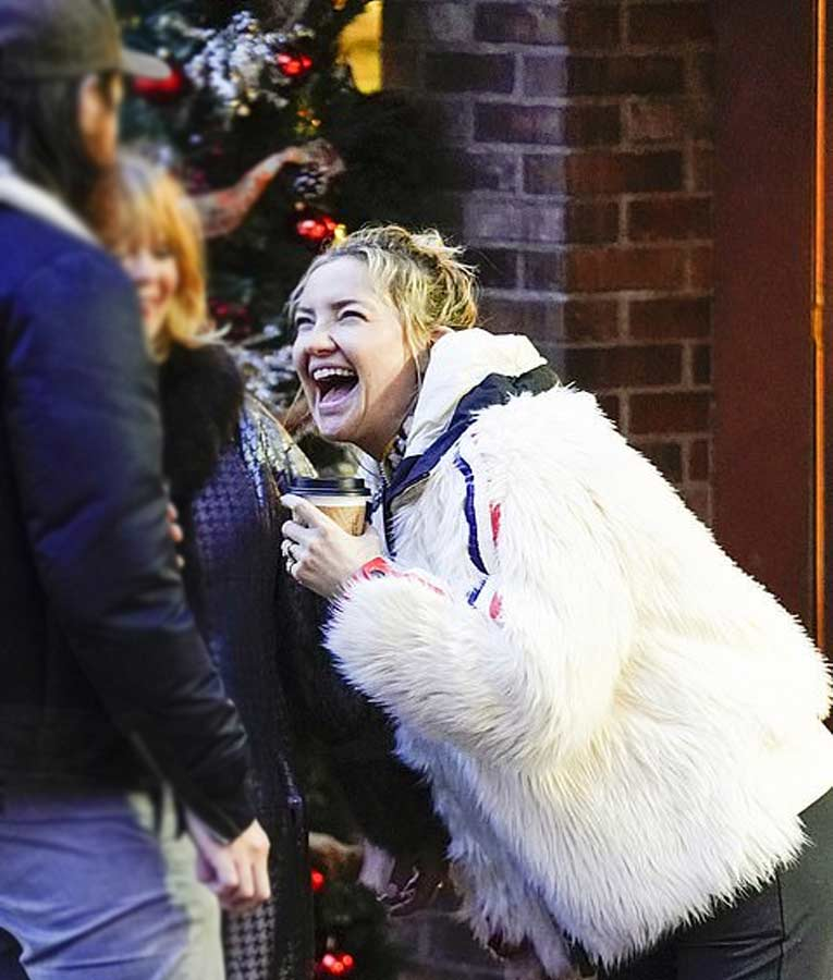 Kate Hudson White Fur Red and Blue Stripes Jacket with Hood