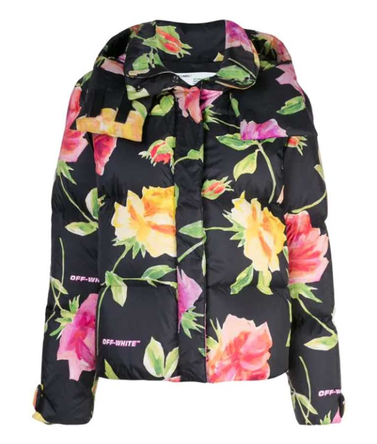 Black Floral Puffer Jacket with Hood