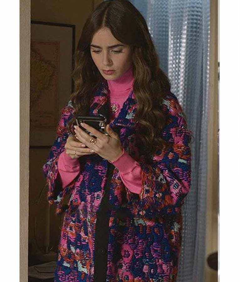 Emily Cooper Emily In Paris Lily Collins Blue Printed Coat