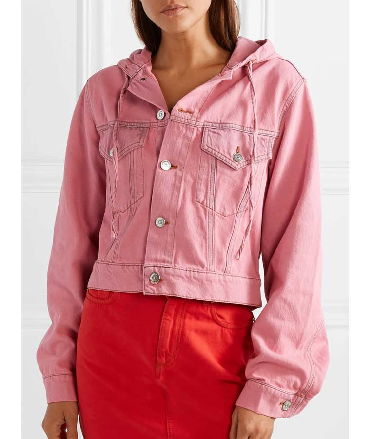 Emily's Pink Hooded Denim Jacket