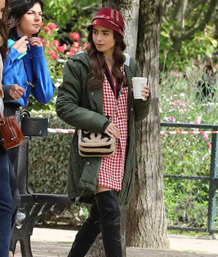 Lily Collins Emily in Paris Hooded Jacket