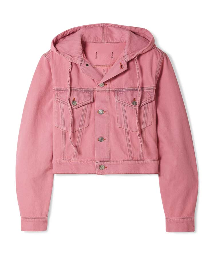 Lily Collins Emily In Paris Pink Hooded Denim Jacket