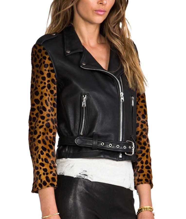 Cheetah Sleeves Black Leather Jacket