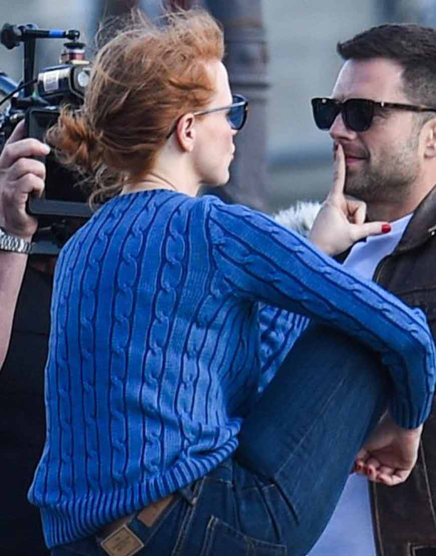 Jessica Chastain The 355 Mace Blue Woolen Sweater