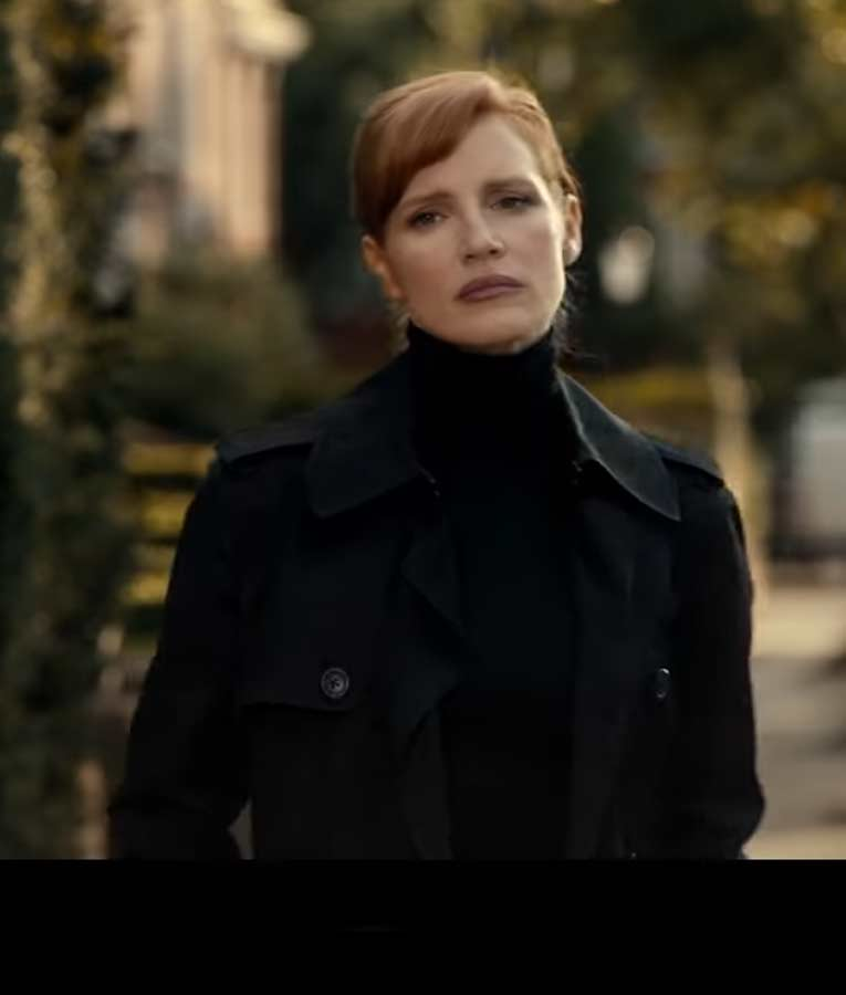 Jessica Chastain The 355 Mace Black Double-Breasted Coat