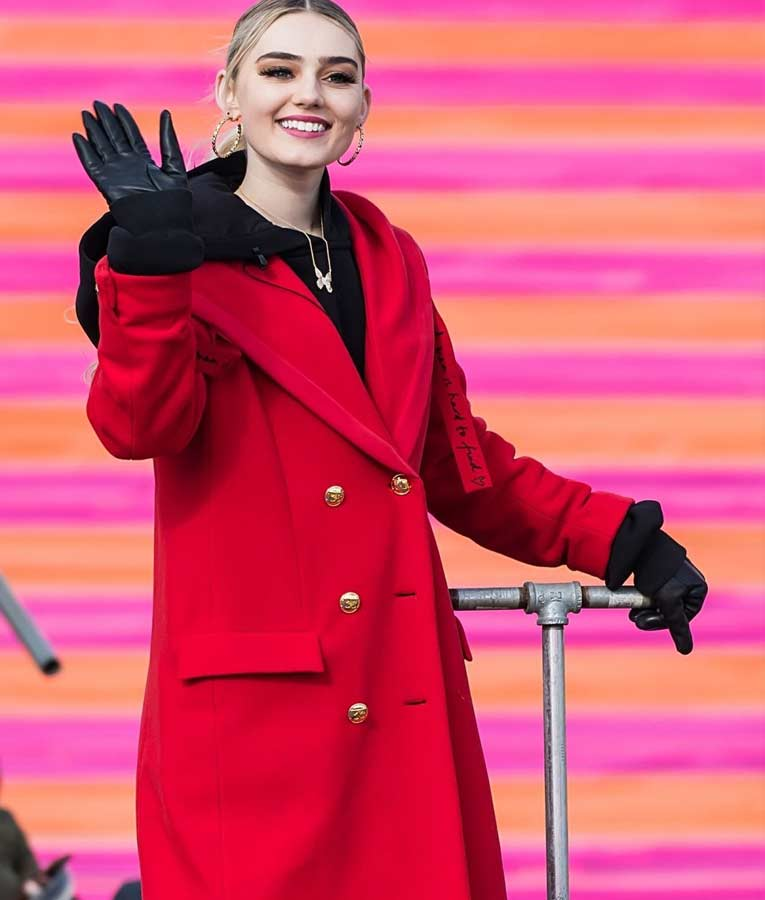 Meg Donnelly 100th Thanksgiving Day Double-breasted Red Trench Coat