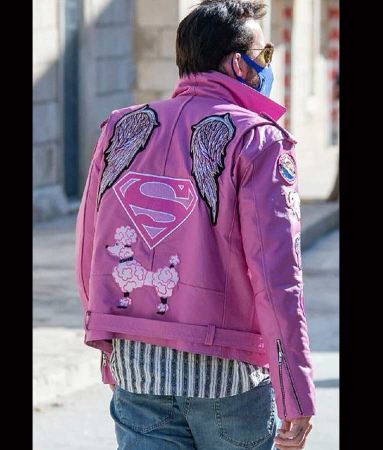 Nic Cage The Unbearable Weight Of Massive Talent Pink Leather Jacket
