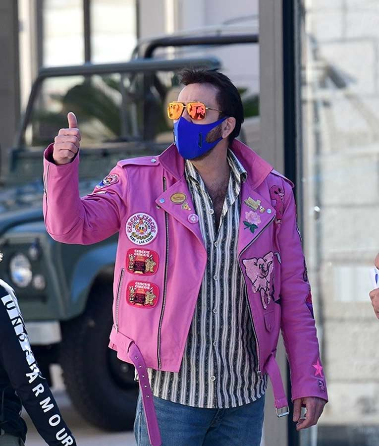 Nic Cage Pink Jacket with Patches