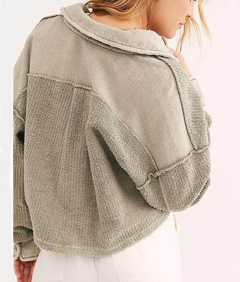 Nomad Grey Cropped Style Shirt Jacket