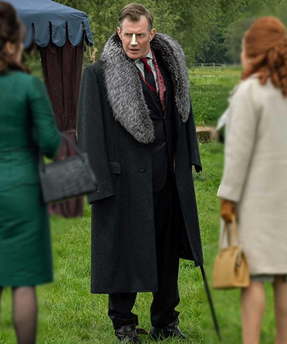 TV Series Pennyworth Lord Harwood Long Black Jason Flemyng Shearling Coat