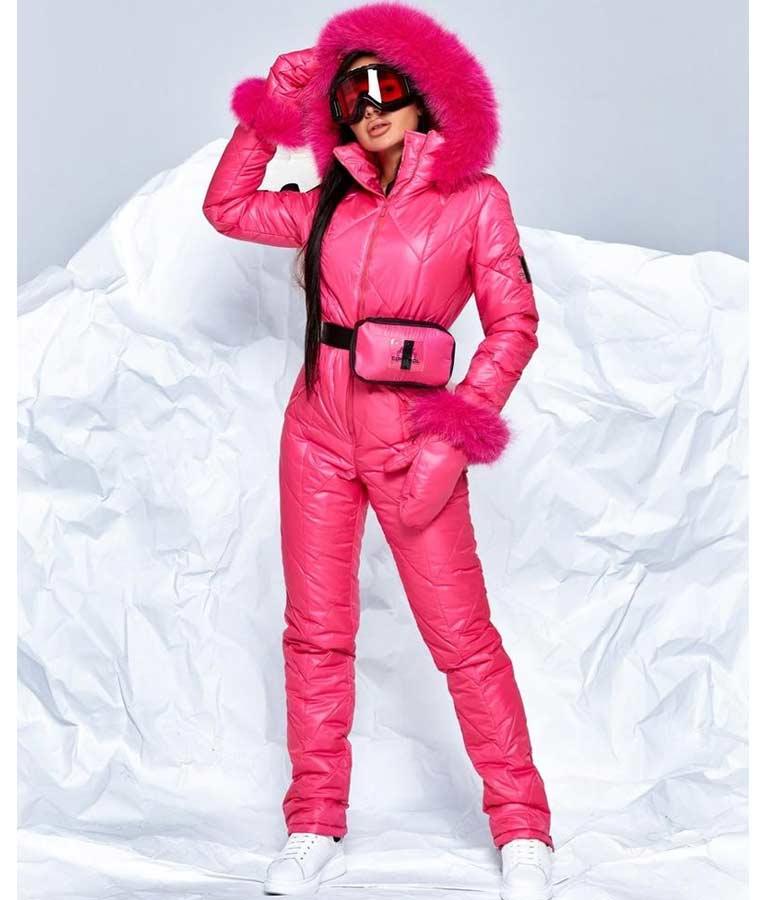 Pink Ski Fur Hood Jumpsuit