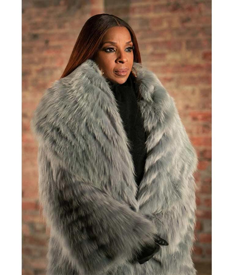 Mary J Blige TV Series Power Book II Ghost Monet Grey Fur Coat