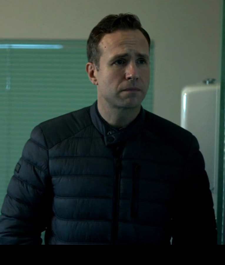 DS Nick Bailey Black Puffer The Salisbury Poisonings Rafe Spall Jacket