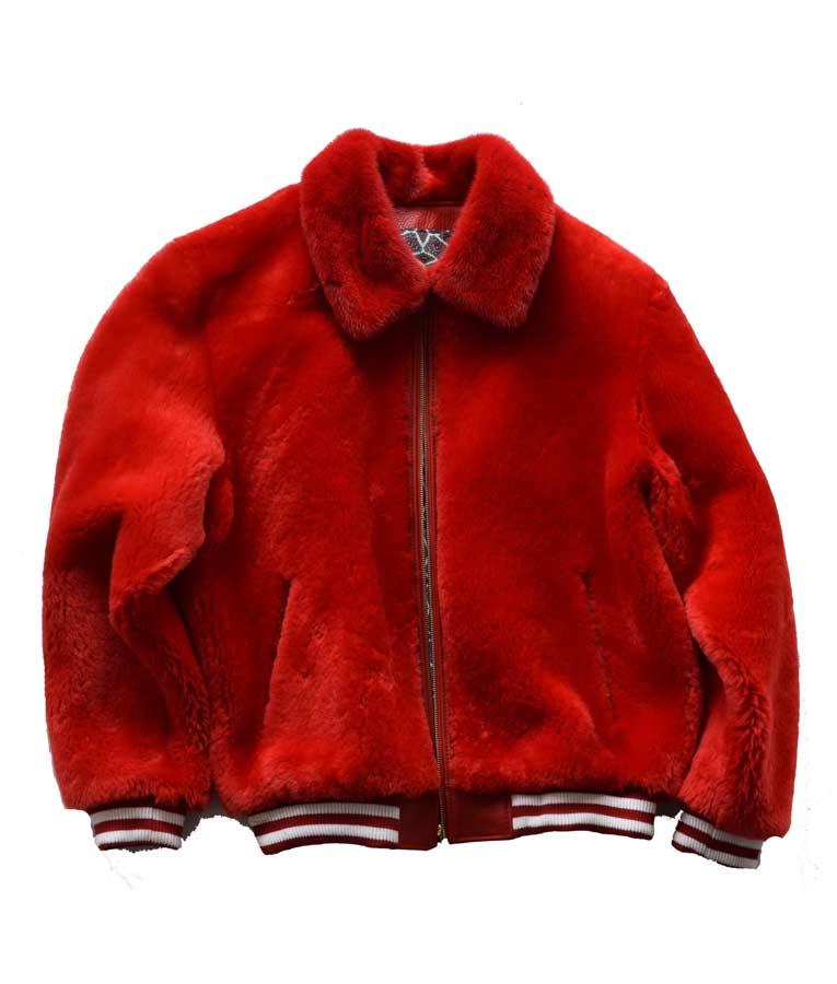 Shop Red Fur Sheep Varsity Jacket