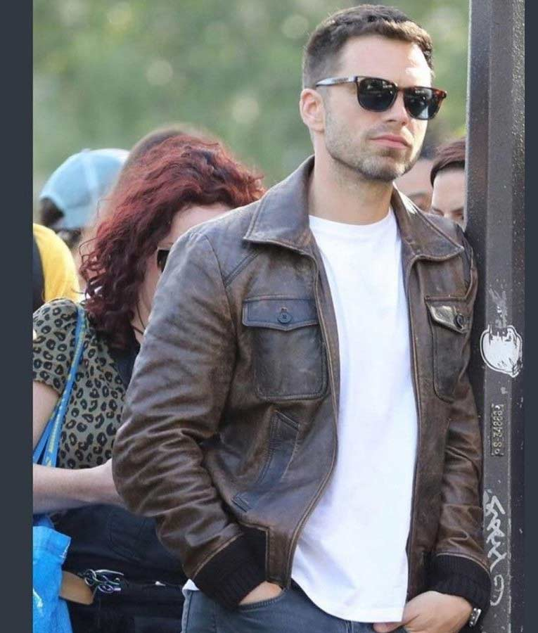 The 355 Sebastian Stan Brown Leather Bomber Jacket
