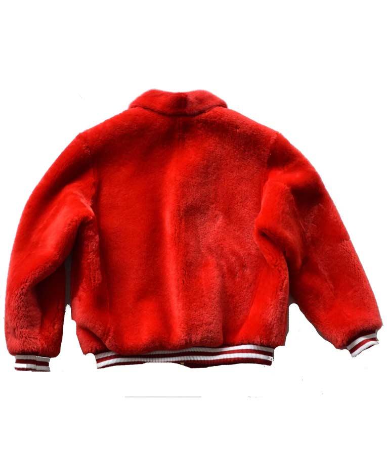Red Fur Sheep Varsity Jacket