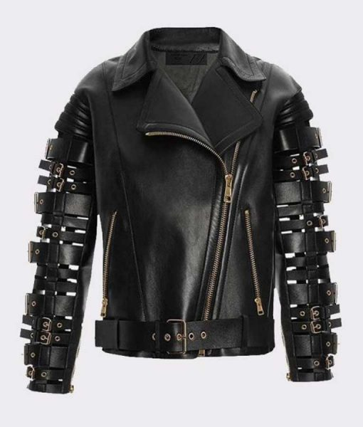 Zendaya Coleman Straps and Buckles Biker Leather Jacket
