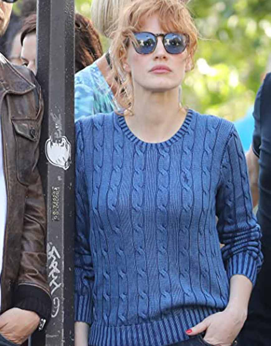 Mace The 355 Jessica Chastain Blue Sweater