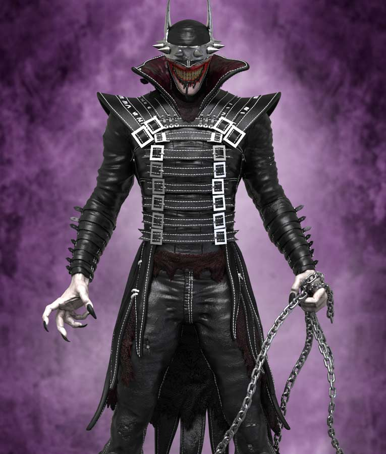The Batman Who Laughs Black Slimfit Leather Coat