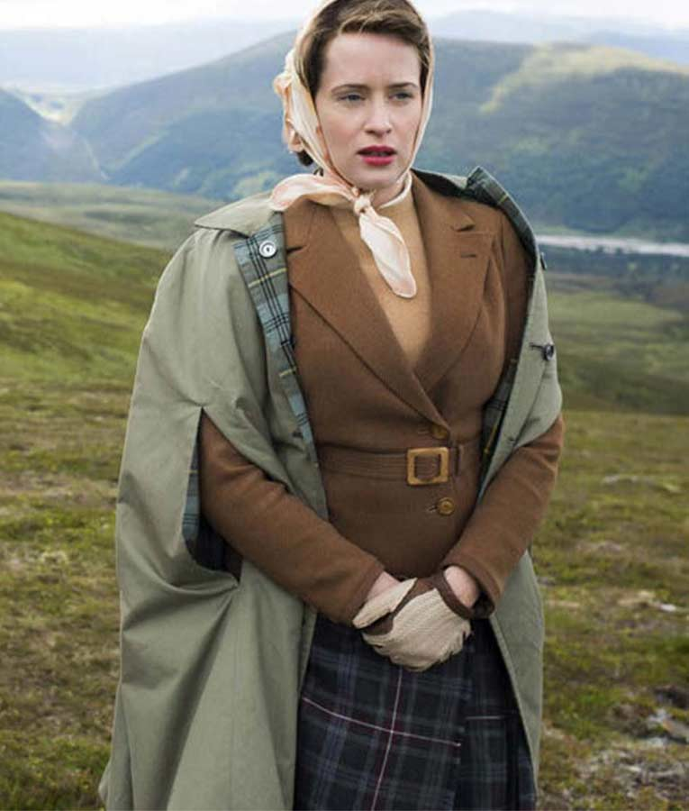 Claire Foy TV Series The Crown Queen Elizabeth II Brown Jacket