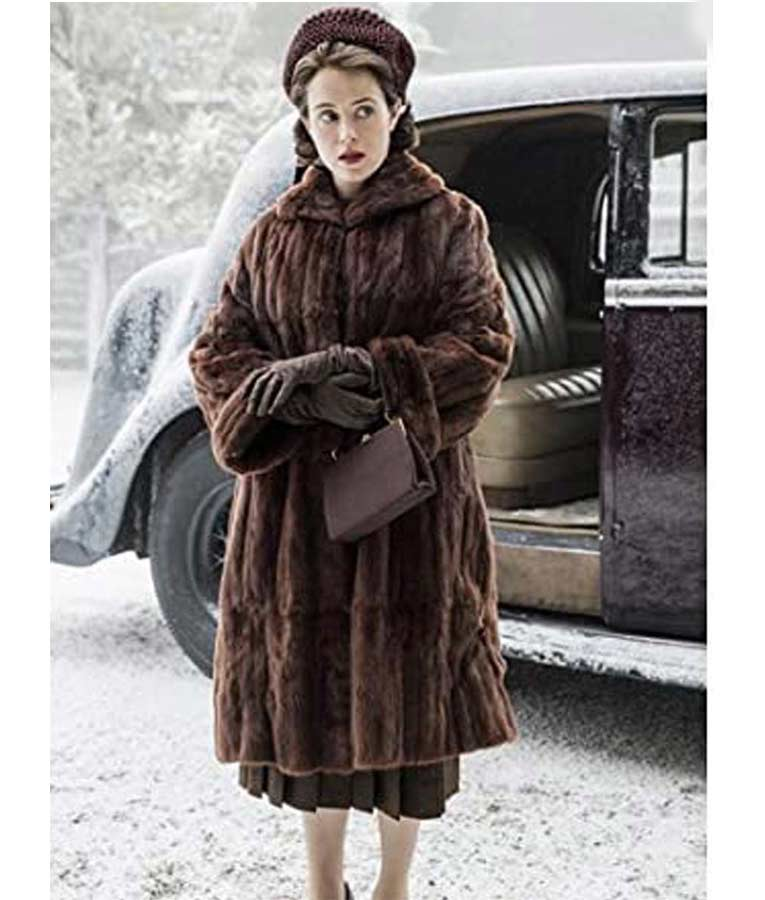 Claire Foy The Crown Queen Elizabeth II Brown Shearling Coat