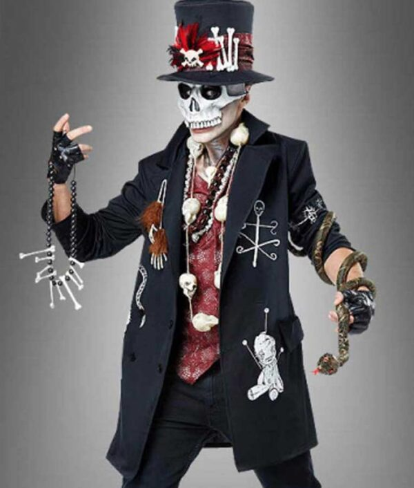 Halloween 2020 Voodoo Priest Mid-Length Black Spooky Coat