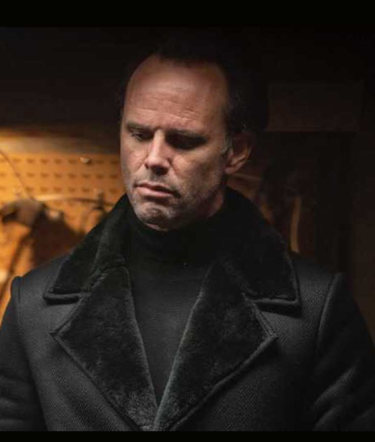 Walton Goggins Fatman Skinny Man Black Shearling Coat