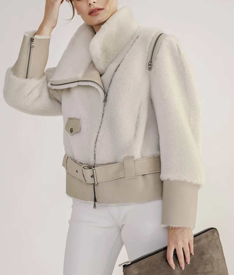 Women's Short Biker Shearling Jacket With Leather Belt