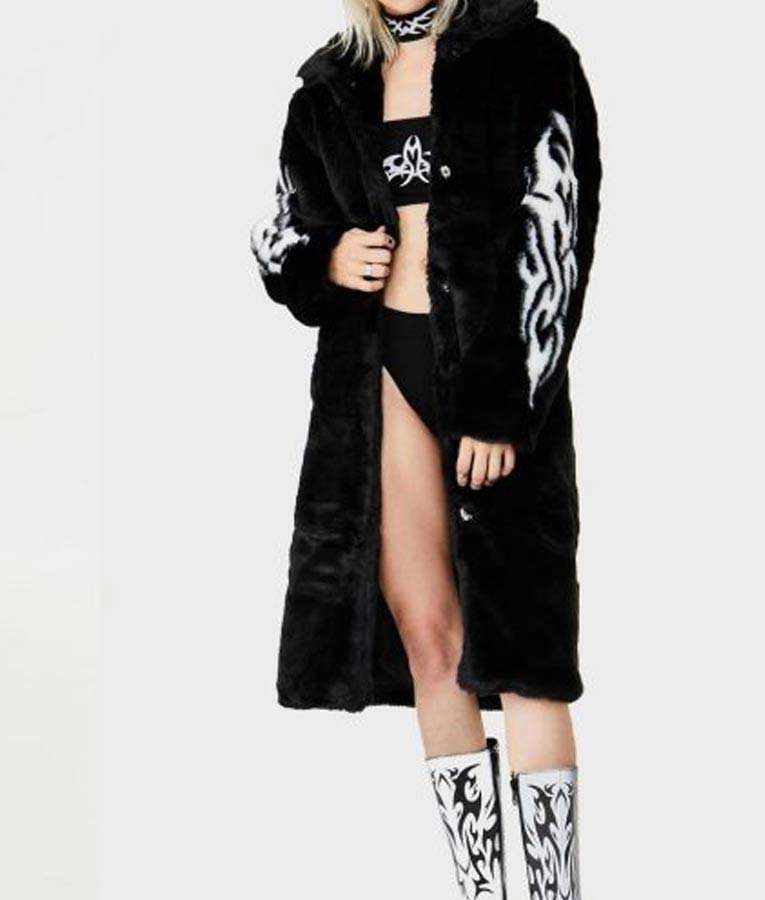 Women's Fallen Angel Faux Fur Black Trench Coat