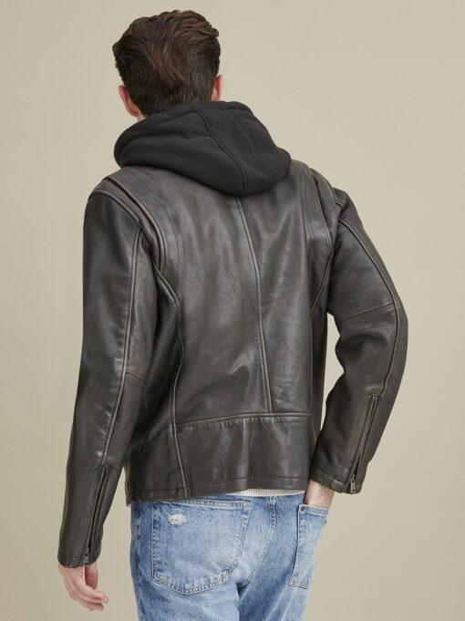 Alan Leather Jacket with Hood