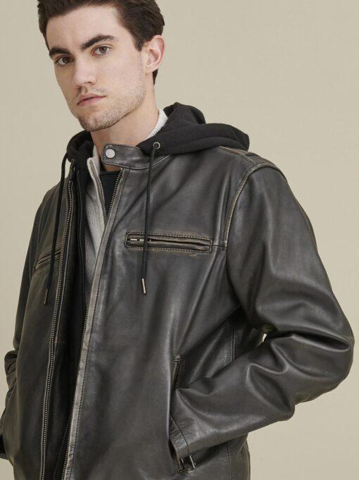 Alan Leather Black Jacket with Hood