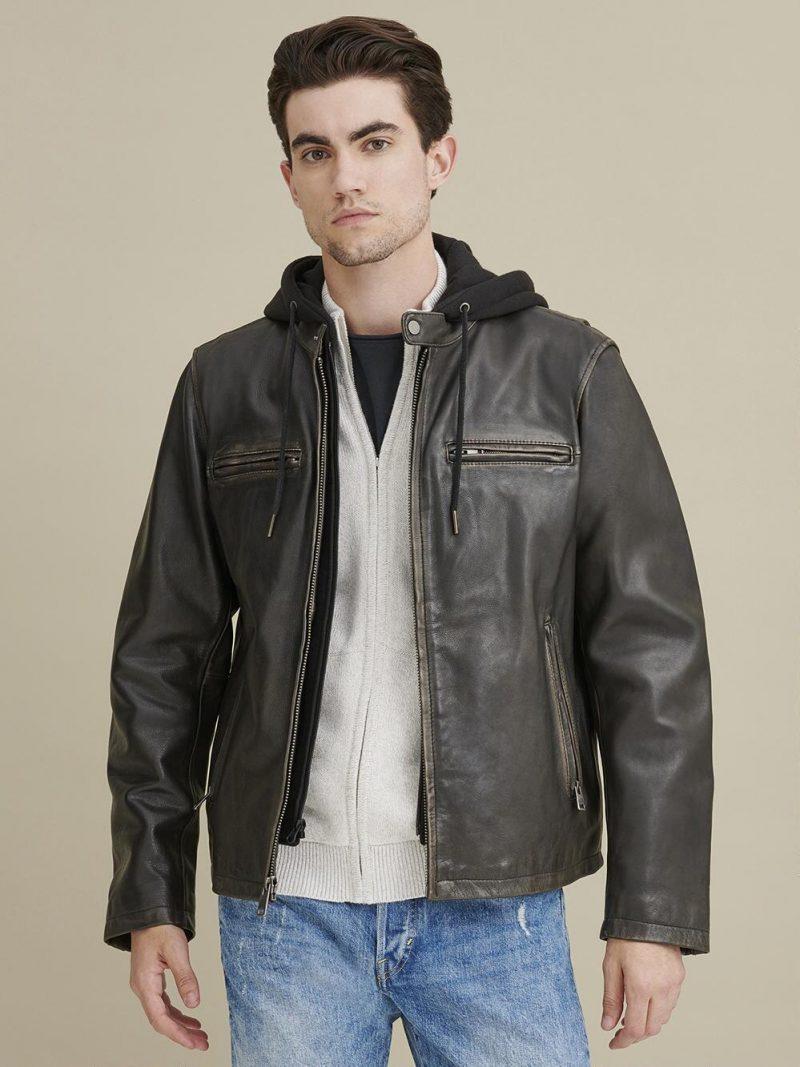 Alan Leather JA Jacket with Hood