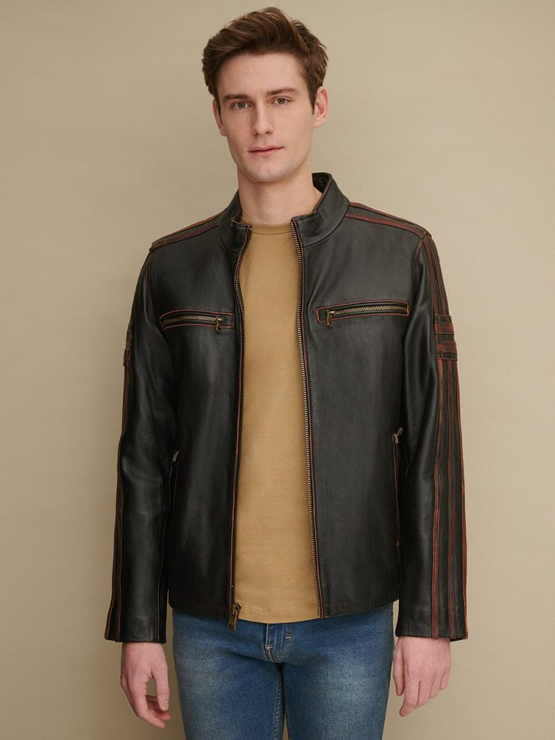 Men's Antique Brown Striped Design Leather Cycle Jacket