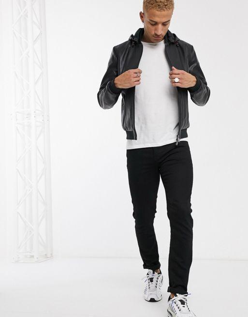 Armani Exchange eco black leather jacket with detachable hood