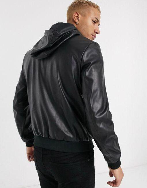 Mens Armani Exchange Eco Leather Jacket With Detachable Hood In Black
