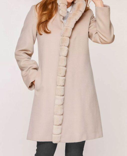 Sofia Aventura Piacenza Rex Rabbit Fur Trim Wool Coat