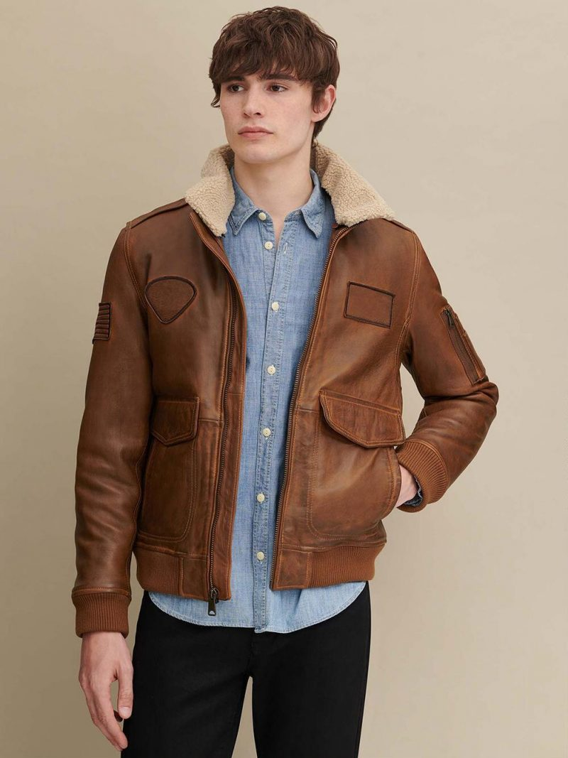 Sheepskin Leather Aviator Shearling Jacket For Mens
