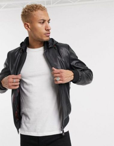 Armani Exchange Eco Leather Jacket In Black