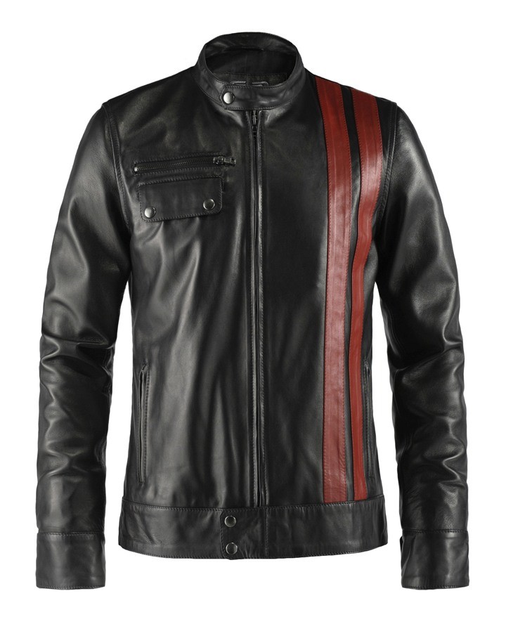 Frankenstein Red Stripe Leather Jacket for Mens
