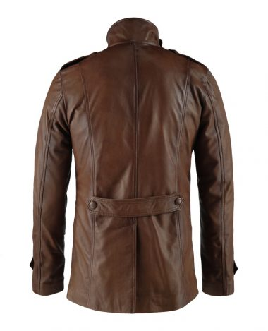 Yushan Brown Stylish Leather Mid Length Leather Jacket