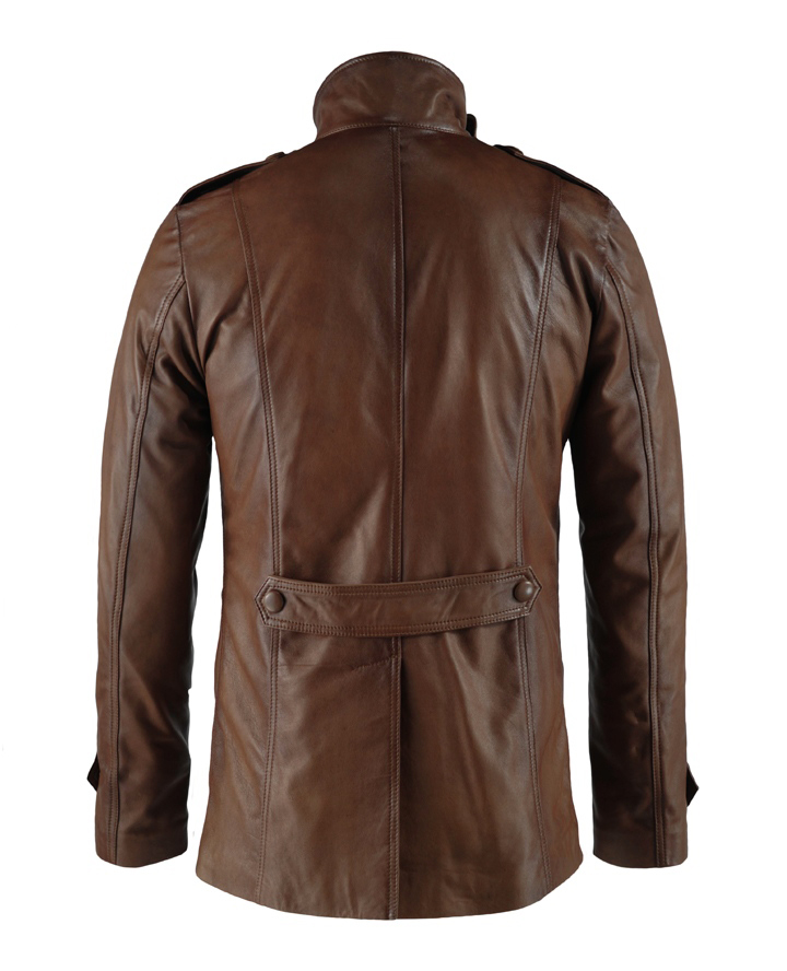 Yushan Brown Stylish Leather Mid Length Leather Jacket